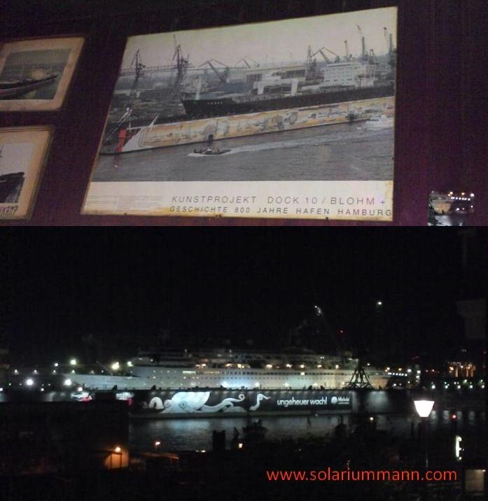 altes Bild im Anker und das moderne Dock 10 bei Nacht.